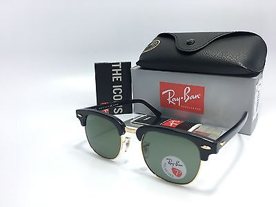 Ray Ban RB3016 Clubmaster 901/58 POLARIZED Black/Gold Frame Green Lens (51mm Clubmaster)