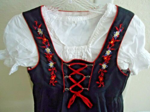 Dirndl World Women Oktoberfest Drindle Dress Bavarian Size 2-4 (15) 2-piece