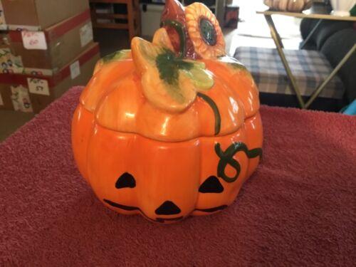 Pumpkin Shaped Ceramic Cookie Jar
