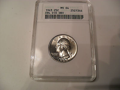 Click now to see the BUY IT NOW Price! 1943 DDO WASHINGTON QUARTER 25C UNCIRCULATED MS 64 ANACS GRADED & SLABBED