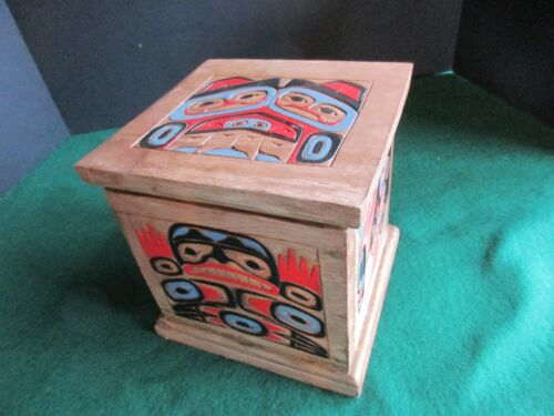 CLASSIC NORTHWEST COAST DESIGN, HAND CARVED & PAINTED LIDDED BOX,   WY-02470