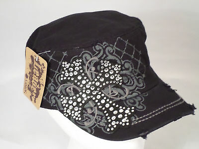 Women's Distressed Vintage Style Cross Rhinestone Bling Cadet Hat Cap - Black