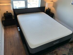 Modern Queen Bed Set w/ End Tables & Lamps