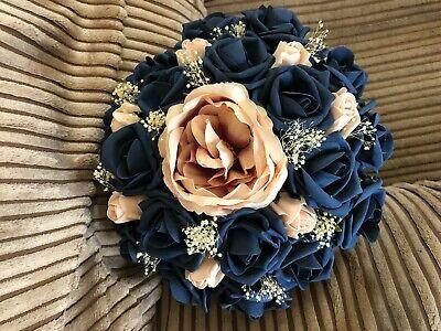 Peach And Gold Wedding (Wedding Flowers Bridesmaid Navy Vintage Peach and Cream Gyp Rose Gold Ribbon)