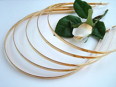 Pack of 5 x 4mm width Plain Gold Effect TIARA BANDS/BASES / Bridal / Wedding