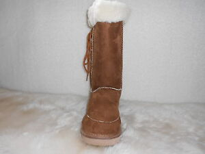 Ugg-Boots-Tall-Synthetic-Wool-Lace-Up-Size-6-Ladys-Colour-Chestnut
