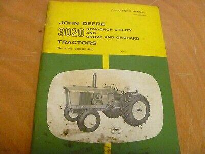 John Deere 3020 Row Crop Utility Grove Orchard Tractor Owner Operator Manual