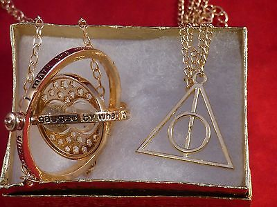 Harry Potter Time Turner Gold Deathly Hallows Charm Pendant Necklace