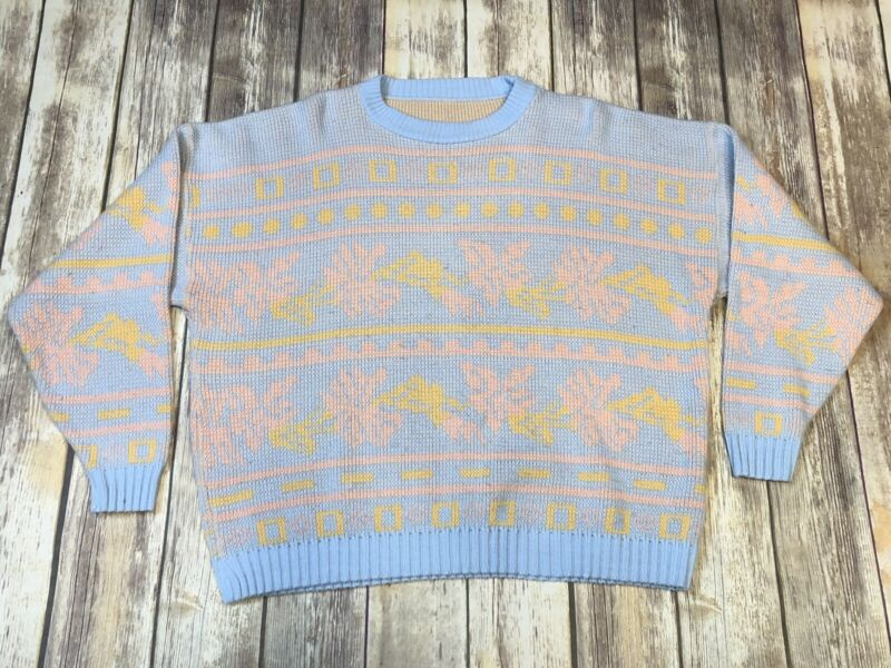 70s 80s Vintage Acrylic Sweater Floral Pastel Blue Peach Yellow Color Size M/L