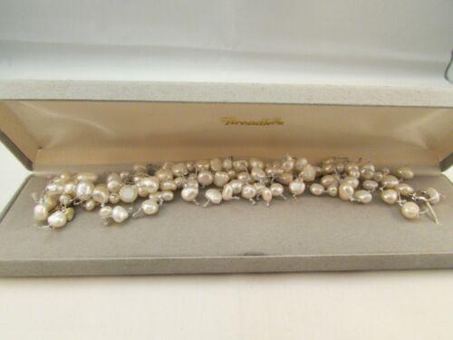 "925 Sterling Silver Freshwater Pearls Dangle Cha-Cha Bracelet 7""-8"""