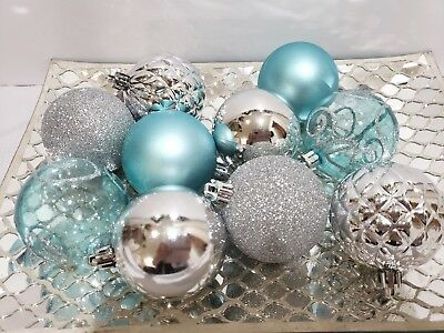 10 Coastal Blue Silver Beach Nautical Christmas Glitter Ball Ornaments 2.5