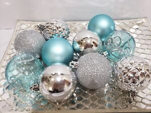 10 coastal blue silver beach nautical christmas glitter ball ornaments 25 - Aqua Christmas Decorations