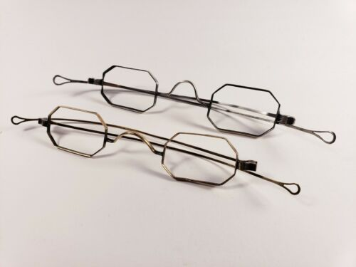10K solid gold & coin silver antique eyeglasses. Matching pair.
