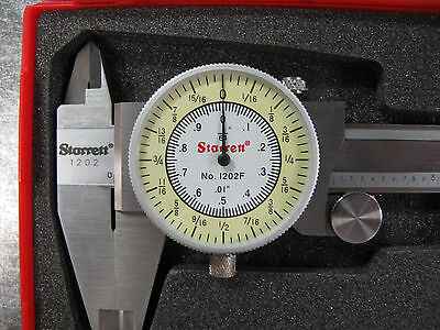 New Starrett 0-6 Fractional Decimal Combination Dial Caliper 1202f-6