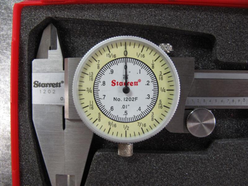 "NEW Starrett 0-6"" Fractional Decimal Combination Dial Caliper #1202F-6"