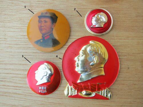 4 CHAIRMAN MAO :Cultural Revolution Memorial PIN/BADGE.C.C. 1967-69