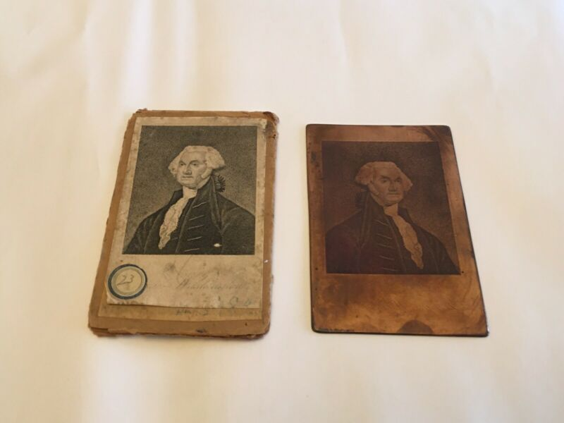 Antique Copper Printing Plate President George Washington Original Packaging