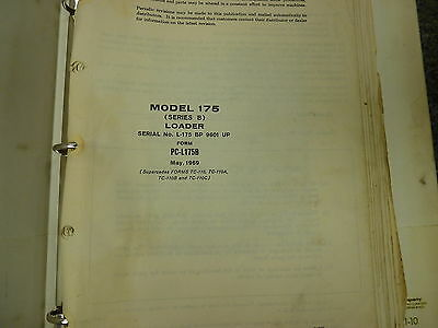 International Harvester Ih 175b Crawler Track Loader Parts Catalog Manual Book