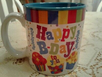 HAPPY BIRTHDAY happy b-day Mug Coffee Cup Multi Color Confetti Celebrate Gift