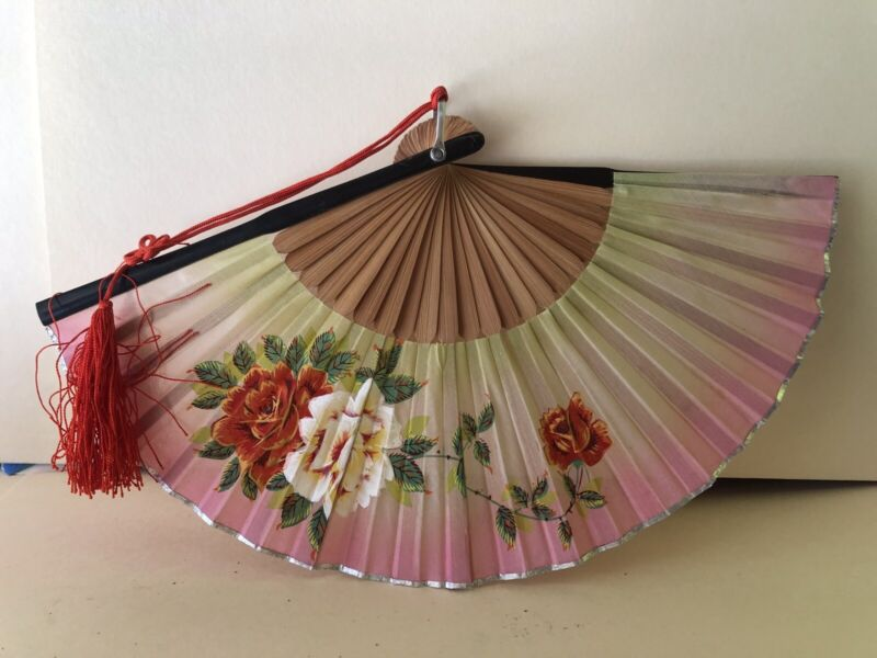 Bamboo Style Chinese Folding Hand Fan Vintage