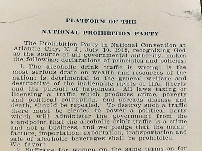 Platform Of The National Prohibition Party, , Atlantic City, NJ July 10, 1912