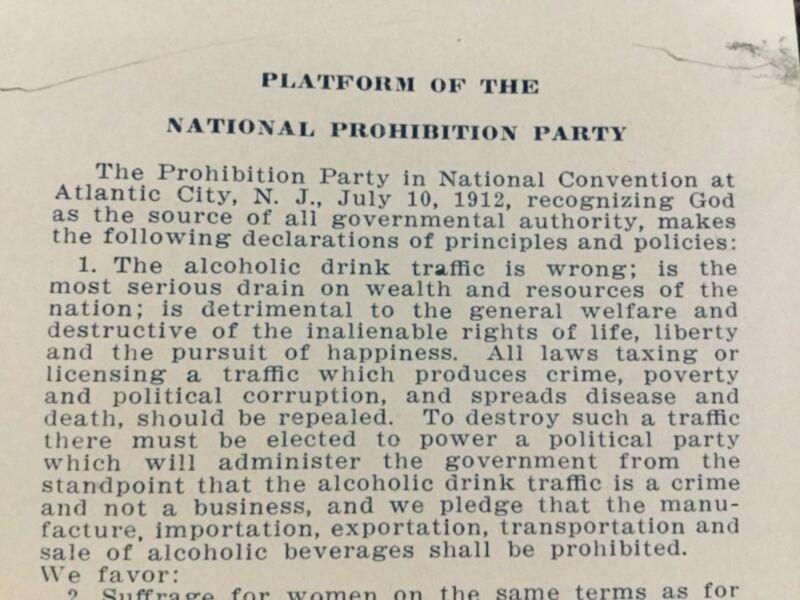 Platform Of The National Prohibition Party, , Atlantic City, NJ July 10, 1912