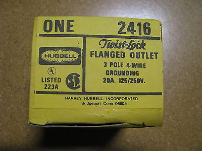 Hubbell Flanged Outlet 2416 Nsn 5935-00-478-4398 Hbl2416 20a 125250v