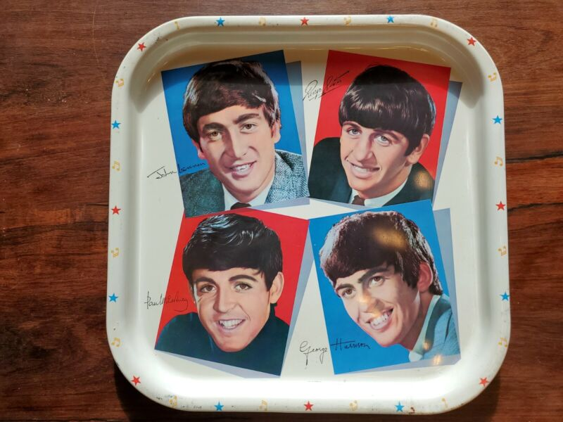 Vintage The Beatles Metal Tray Platter Made In England