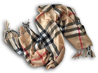 Schal beige, rot, schwarz, weiß kariert - Pashmina - Geschenk