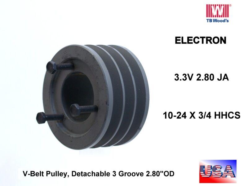 TB WOODS  Electron 3 v belt PULLEY sheave 3 3V 2.80 JA 10-24 x 3/4 HHCS new