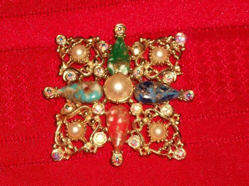 Vintage 1960s Sarah Coventry Multi Color Rhinestone Galaxy Brooch Pin Pendant