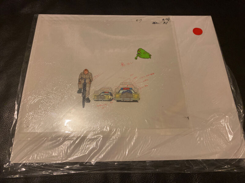 the ghostbusters production cel Ray Stantz And Slimer With Cert.