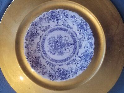 """VTG *Lot of 4* Arcopal France Honorine Bread/Dessert Plates 7-1/2"""" Blue & White"""