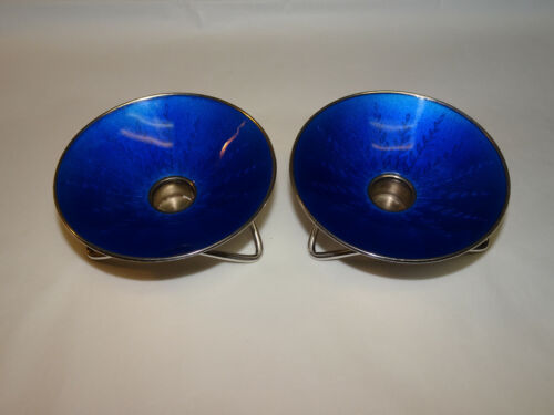 Set of 2 Denmark Anton Michelsen Sterling Silver Blue Enamel Candle Holders