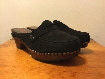 Michael Kors Slip On Loafer Heels Size 7B Studded Black Suede Wood Heel