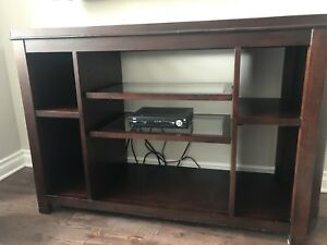 Wood& glass tv console or shelving unit
