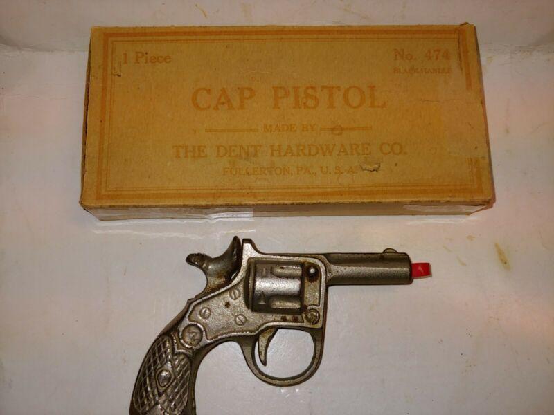 "Vintage 10s/20s Kenton 4"" Cast Iron Metal Toy Cap Gun,Dent 474 Cap Pistol Box"