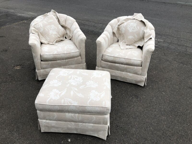 Pair Of Baker Revolving Club Chairs With Companion Ottoman