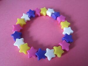 Kitsch-Candy-Colours-Plastic-Star-Bead-Elastic-Bracelet-Retro-Summer-Brand-New