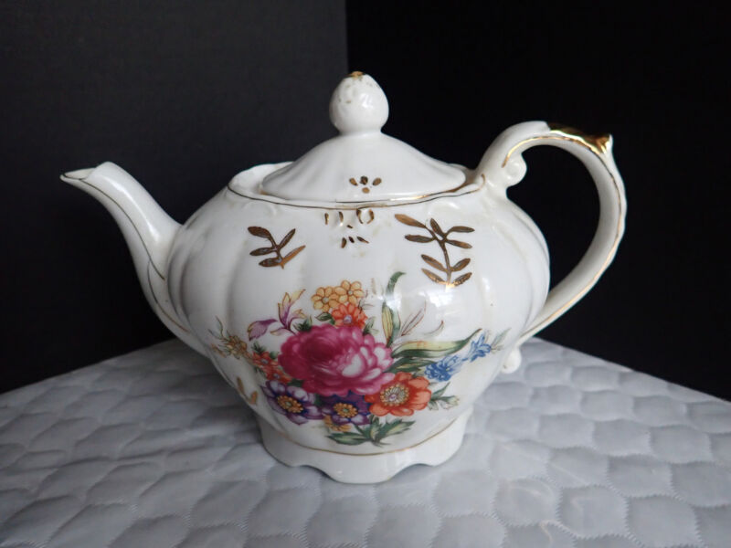 Japan White Floral Gold Guild Musical Teapot