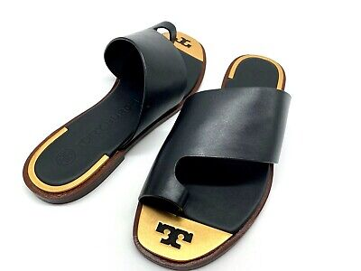 NIB $248 Tory Burch Women's Selby Black Leather Toe Ring Slide Sandals In 9M
