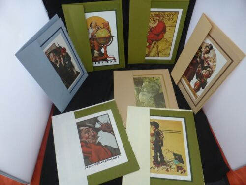 7 NORMAN ROCKWELL Christmas Cards & Envelopes in Original Gold Box VINTAGE SET