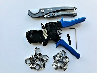 Pex Ratchet Cinch Clamp Crimper Tool Kit 38-1 With 30 Pcs Ss Clampscutter