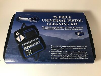 Gunmaster pistol cleaning kit 22 Piece Universal .22 .357 .380 .38 9mm .45 NEW