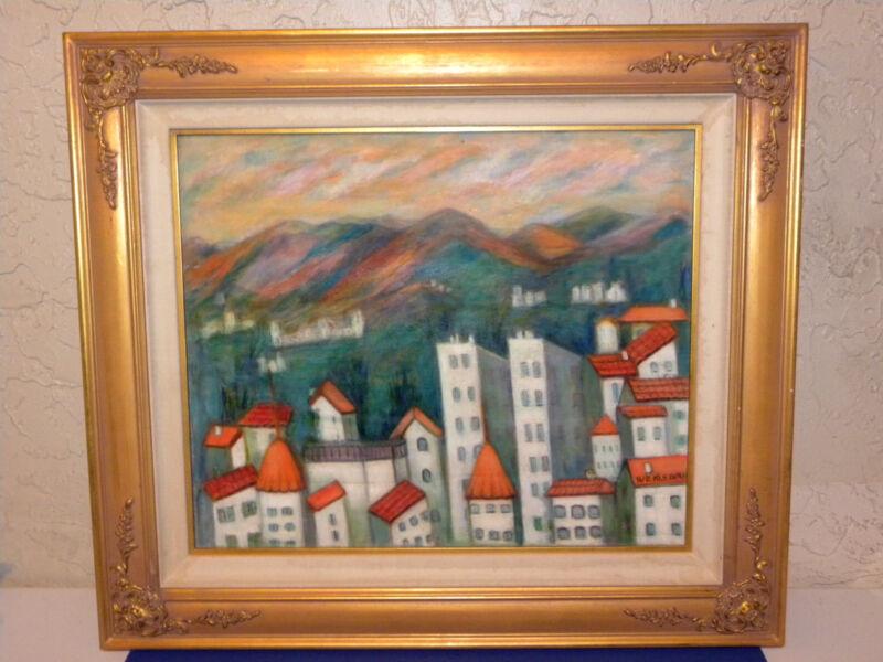 """Painting Kleinman """"majorica Roof Tops"""" Judaica Artist 1942"""