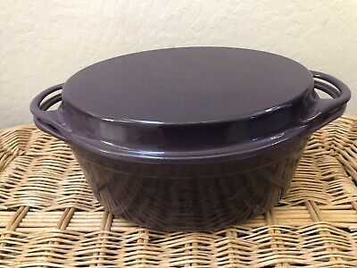 Le Creuset Cast Iron Oval Oven with Reversible Grill Pan Lid, 4 3/4 quart Purple