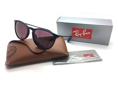 Ray Ban Women Black Round Polarized Sunglasses RB 4171F 601 5Q 3P 54 Plastic