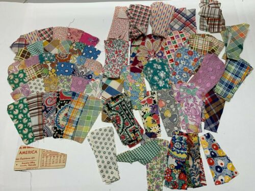 Lot Fan Quilt Blocks 6 and 140+ Cut Pieces 1930s Feedsack Cottons