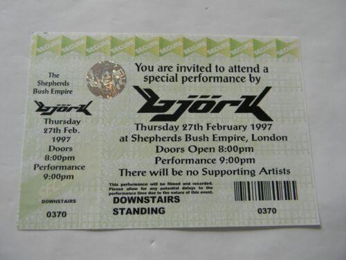Bjork London 2/27/97 Special Performance Shepherds Bush Empire Ticket Unused NM