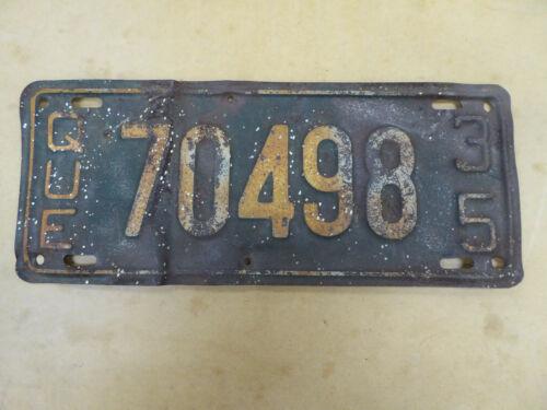 🔥 Vintage 1935 35 QUEBEC CANADA PASSENGER LICENSE PLATE #70498 🔥